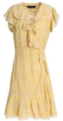 Needle & Thread Ruffled Embroidered Jacquard Wrap Mini Dress