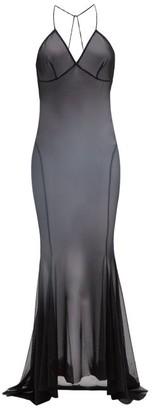 Norma Kamali Low Back Fishtail Mesh Dress - Womens - Black