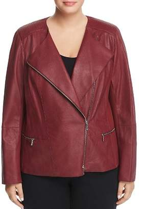 Lafayette 148 New York Plus Trista Leather Moto Jacket