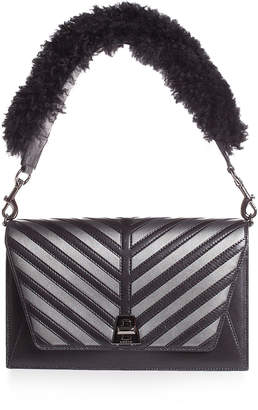 Akris Anouk Small City Oversize-Herringbone Shoulder Bag with Fur Strap
