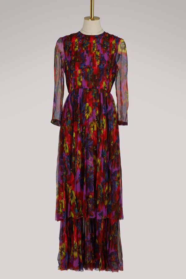 Gucci Embroidered violet print chiffon gown