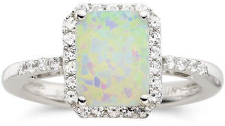 JCPenney FINE JEWELRY Lab-Created Cushion-Cut Opal & White Sapphire Ring