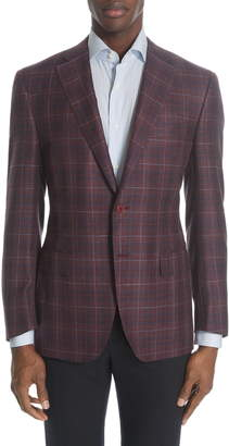Canali Siena Classic Fit Plaid Wool Blend Sport Coat