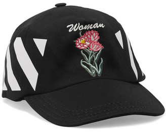Off-White - Embroidered Cotton-twill Cap - Black $130 thestylecure.com