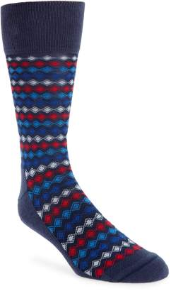 Nordstrom Striped Diamond Grid Socks
