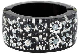 Chanel Crystal & Resin Flower Hinged Cuff