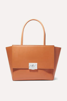 Calvin Klein Bonnie Large Grosgrain-trimmed Leather Tote - Tan