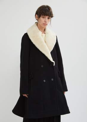 J.W.Anderson Wool Swing Coat With Shearling Collar