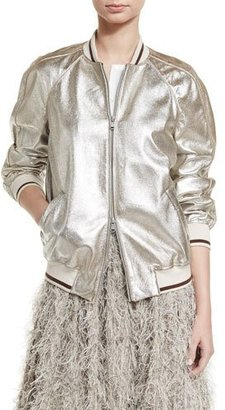 Brunello Cucinelli Striped-Trim Leather Bomber Jacket, Silver $6,595 thestylecure.com