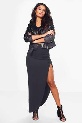 boohoo Micha Ruched Side Jersey Maxi Skirt
