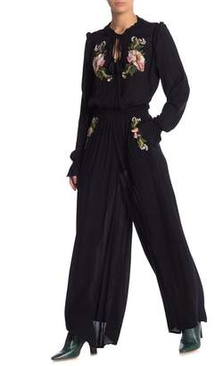 Free People Embroidered Floral Long Sleeve Blouse & Pants 2-Piece Set