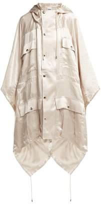 Koché Koche - Hooded Crinkled Satin Poncho - Womens - Cream