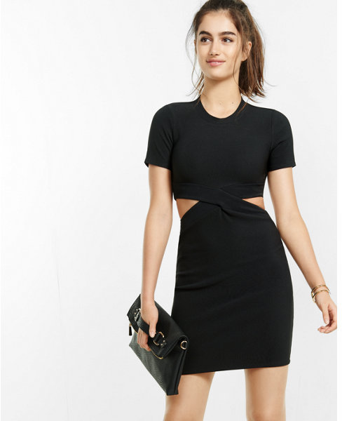 Express short sleeve ribbed cut out  dress