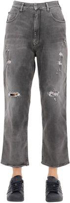 Distressed Cotton Denim Boyfriend Jeans $216 thestylecure.com