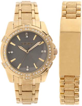 Elgin Mens Gold Tone Id Bracelet Watch Set Fg10009St