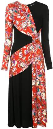 Prabal Gurung floral contrast long-sleeve dress