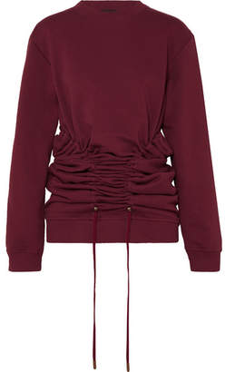 Y/Project Drawstring Cotton-jersey Sweatshirt - Plum