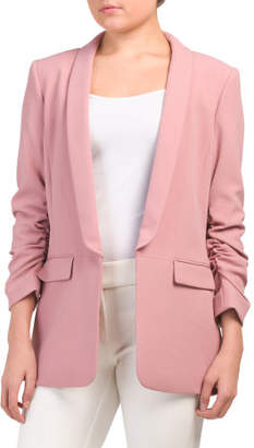 Ruched Sleeve Long Blazer