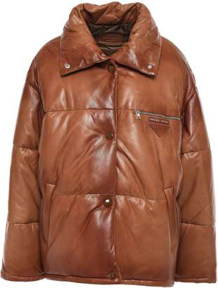 Prada Quilted Polished-leather Down Jacket