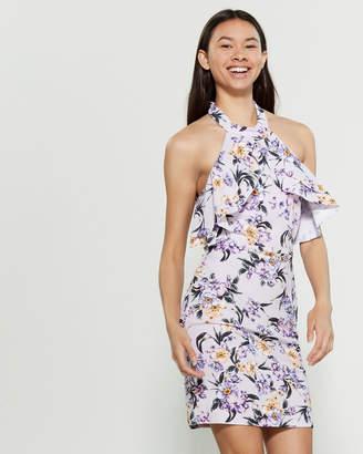 Bebe Floral Halter Neck Sheath Dress