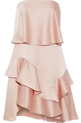 Halston Strapless Ruffled Satin And Crepe Mini Dress