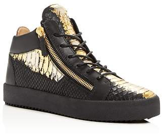 Giuseppe Zanotti Men's Painted Croc-Embossed Leather Mid Top Sneakers