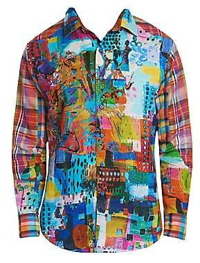 Robert Graham Men's Urban Dreams Abstract Print Linen Shirt