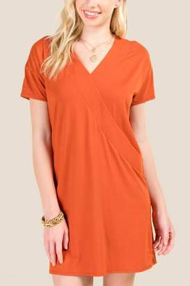 francesca's Marilyn V Neck Shift Dress - Cinnamon