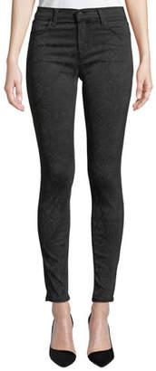 J Brand 620 Mid-Rise Super Skinny Sateen Snake-Print Jeans