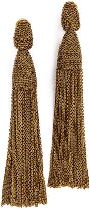 Oscar de la Renta Long Chain Tassel Earrings $440 thestylecure.com