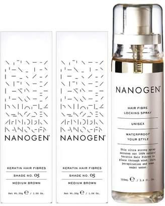 Nanogen Hair Thickening Keratin Fibres Medium Brown - 2 x 30g Bundle