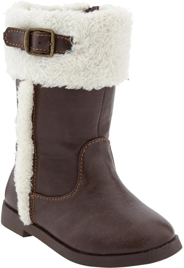 Old Navy Faux-Leather Sherpa-Trim Boots for Baby