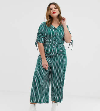 Glamorous Curve midi tea jumpsuit with tie sleeves in spot print