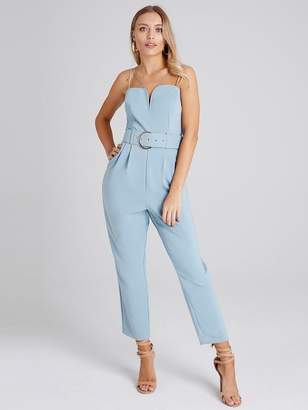 3680a0d605 Girls On Film Wide Belted Strappy Tapered Leg Jumpsuit - Sage Green
