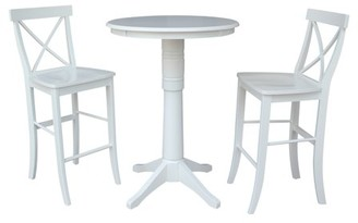 """INC International Concepts 30"""" Round Bar Height Table and 2 X-back Stools - White - 3 Piece Set"""