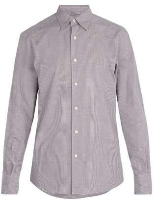 Ermenegildo Zegna Micro Gingham Checked Cotton Shirt - Mens - Purple Multi