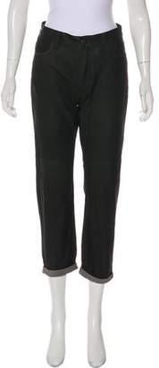 Current/Elliott Leather Mid-Rise Straight-Leg Pants w/ Tags