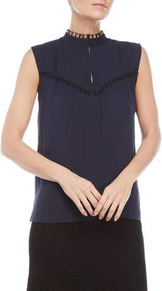 Derek Lam Navy High Neck Pintuck Sleeveless Silk Top