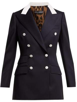 Dolce & Gabbana Double Breasted Wool Twill Blazer - Womens - Navy White