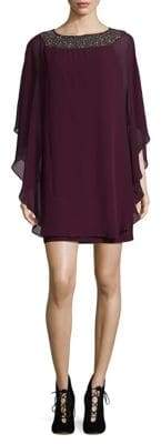 Xscape Evenings Wine Chiffon Dress