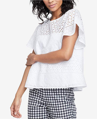 Rachel Roy Cotton Pupetto Eyelet Top, Created for Macy's