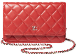 Vintage Red Quilted Lambskin Classic Wallet on a Chain (WOC)