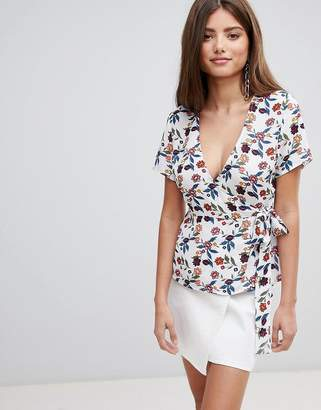 Fashion Union Wrap Top In Floral Print