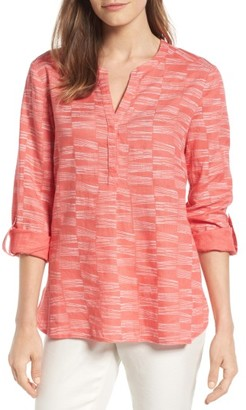 Women's Nic+Zoe Little Lines Linen Roll Sleeve Top $158 thestylecure.com