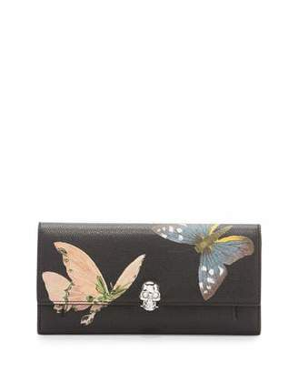 Alexander McQueen Butterfly Leather Skull Wallet-On-Chain, Black/Multi $995 thestylecure.com