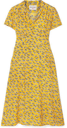 Morgan HVN Printed Silk Crepe De Chine Dress - Marigold