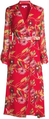 Equipment Andrese Floral Silk Wrap Dress