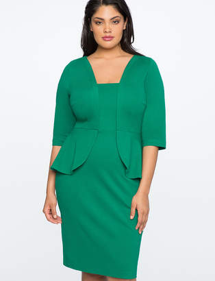 ELOQUII Faux Peplum Sheath Dress