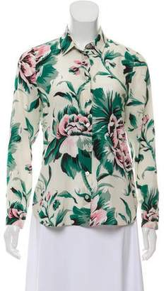 Burberry Floral Silk Button-Up Top