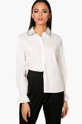boohoo Embriodered Collar Detail Shirt